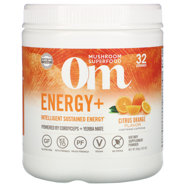 Om Mushrooms, Energy+, Citrus Orange, 7.05 oz (200 g)