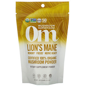 Om Mushrooms, Lion's Mane, Certified 100% Organic Mushroom Powder, 3.5 oz (100 g) отзывы покупателей