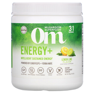 Om Mushrooms Energy+, Powered by Cordyceps + Yerba Mate Powder, Lemon Lime, 2,000 mg, 7.05 oz (200 g)