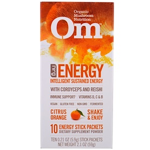 Om Mushrooms, Energy, Mushroom Powder, Citrus Orange, 10 Packets, 0.21 oz (5.9 g) Each отзывы