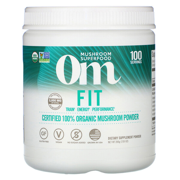 Om Mushrooms, Fit, Certified 100% Organic Mushroom Powder, 7.05 oz (200 g)