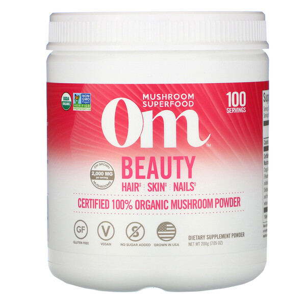 Beauty, Certified 100% Organic Mushroom Powder, 7.05 oz (200 g)