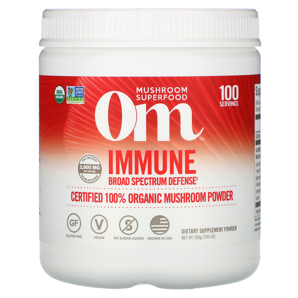 Om Mushrooms, Immune, Certified 100% Organic Mushroom Powder, 7.05 oz (200 g)