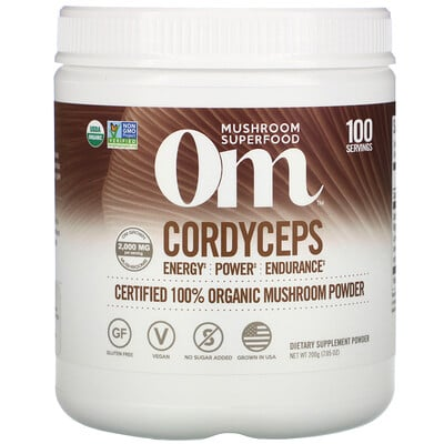 Om Mushrooms Cordyceps, Certified 100% Organic Mushroom Powder, 7.05 oz (200 g)