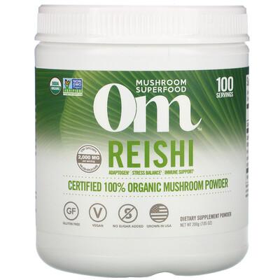 Om Mushrooms Reishi, Certified 100% Organic Mushroom Powder, 7.05 oz (200 g)