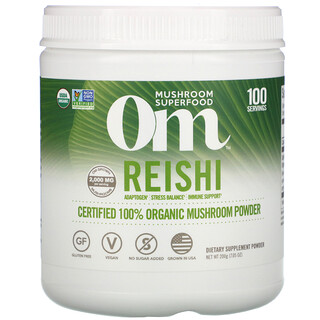 Om Mushrooms, Reishi,全有機蘑菇粉認可,7.05 盎司(200 克)