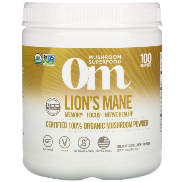 Lion's Mane, Certified 100% Organic Mushroom Powder, 7.05 oz (200 g)
