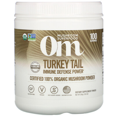 Купить Om Mushrooms Turkey Tail, Certified 100% Organic Mushroom Powder, 7.05 oz (200 g)