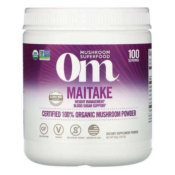 Om Mushrooms, Maitake, Certified 100% Organic Mushroom Powder, 7.05 oz (200 g)
