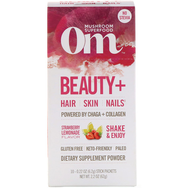 Organic Mushroom Nutrition, Beauty+, Powered by Chaga + Collagen, Strawberry Lemonade, 10 Packets, 0.22 oz (6.2 g) Each