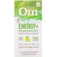 Organic Mushroom Nutrition, Energy+, Powered by Cordyceps + Yerba Mate, Lemon Lime, 10 Packets, 0.22 oz (6.4 g) Each