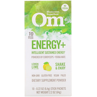 Organic Mushroom Nutrition, Energy+, Powered by Cordyceps + Yerba Mate, Lemon Lime, 10 Packets, 0.22 oz (6.4 g) Each