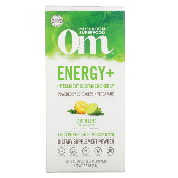 Energy+, Powered by Cordyceps + Yerba Mate, Lemon Lime, 10 Packets, 0.23 oz (6.4 g) Each