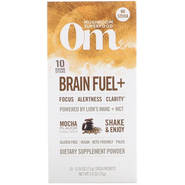 Organic Mushroom Nutrition, Brain Fuel+, Powered by Lion's Mane + MCT, Mocha, 10 Packets, 0.26 oz (7.5 g) Each