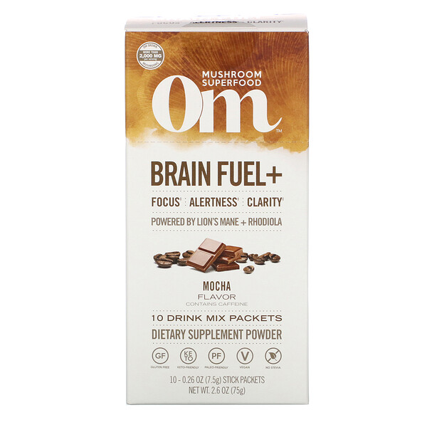 Brain Fuel+, Focus, Alertness, Clarity, Mocha, 10 Packets, 0.26 oz (7.5 g) Each