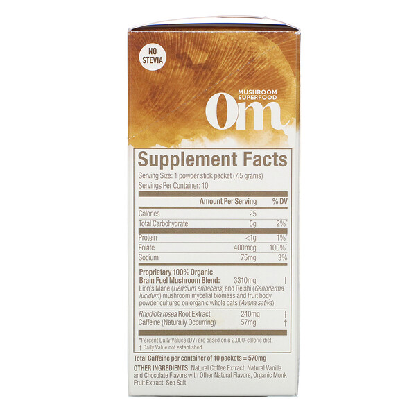Om Mushrooms, Brain Fuel+, Focus, Alertness, Clarity, Mocha, 10 Packets, 0.26 oz (7.5 g) Each