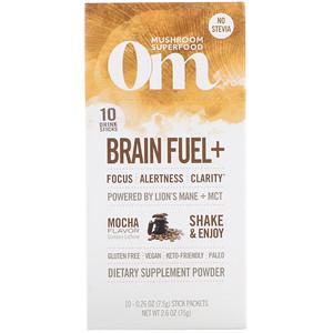 Organic Mushroom Nutrition, Brain Fuel+, Powered by Lion's Mane + MCT, Mocha, 10 Packets, 0.26 oz (7.5 g) Each