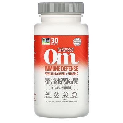 Купить Om Mushrooms Immune Defense, Powered by Reishi + Vitamin C, 697 mg, 90 Vegetarian Capsules