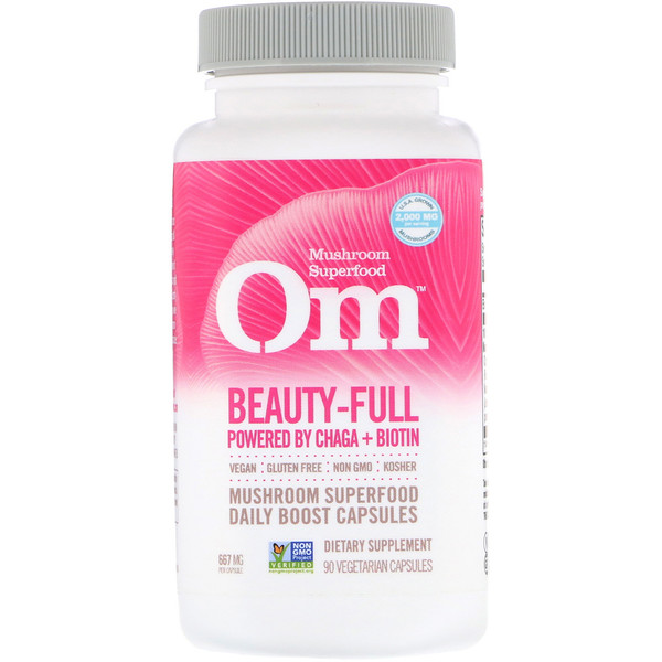 Organic Mushroom Nutrition, Beauty-Full, Powered by Chaga + Biotin, 667 mg, 90 Vegetarian Capsules
