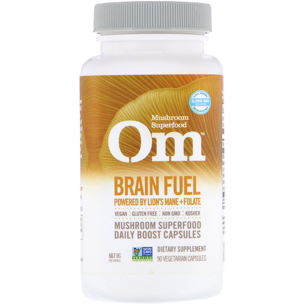 Organic Mushroom Nutrition, Brain Fuel, Powered by Lion's Mane + Folate, 667 mg, 90 Vegetarian Capsules