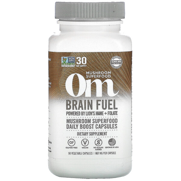 Om Mushrooms, Brain Fuel, 667 mg, 90 Vegetarian Capsules
