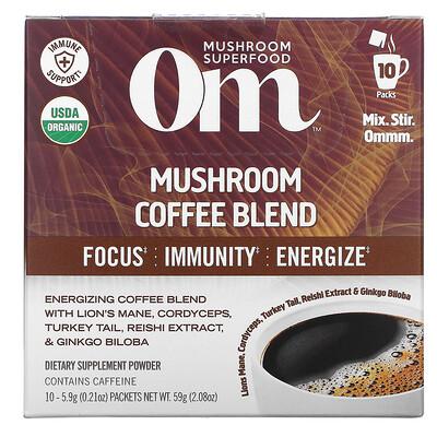 Купить Om Mushrooms Mushroom Coffee Blend, 10 Packets, .21 oz (5.9 g) Each