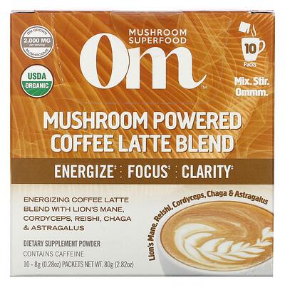 Купить Om Mushrooms Mushroom Powered Coffee Latte Blend, 10 Packets, 0.28 oz (8 g) Each