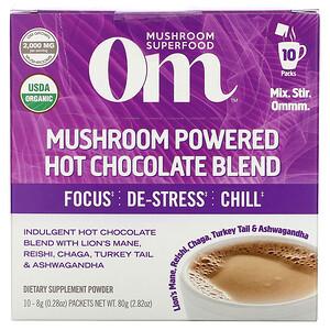 Om Mushrooms, Mushroom Powered Hot Chocolate Blend, 10 Packets, 0.28 oz (8 g) Each