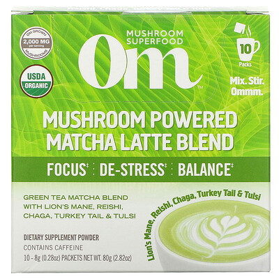 Om Mushrooms Mushroom Powered Matcha Latte Blend, 10 Packets, 0.28 oz (8 g) Each