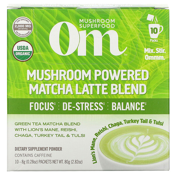 Mushroom Powered Matcha Latte Blend, 10 Packets, 0.28 oz (8 g) Each