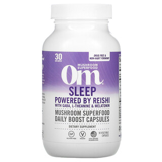 Om Mushrooms, Sleep, Powered by Reishi with GABA, L-Theanine & Melatonin, 90 Vegetable Capsules