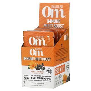 Om Mushrooms, Immune Multi Boost, Orange & Elderberry Juice Drink Mix, 10 Packets, 0.53 oz (15 g) Each