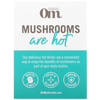Om Mushrooms, ホットドリンクサンプルパック、ホットチョコレート、抹茶ラテ、コーヒー、コーヒーラテブレンド、4袋入り