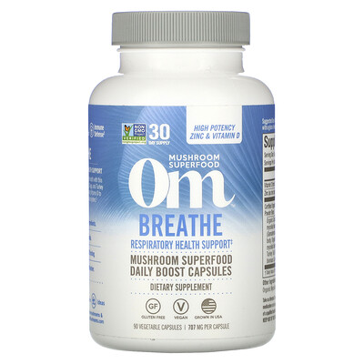 Купить Om Mushrooms Breathe, Respiratory Health Support, 90 Vegetable Capsules