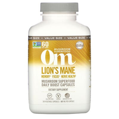 Om Mushrooms Lion's Mane Mushroom Superfood, 180 Vegetable Capsules