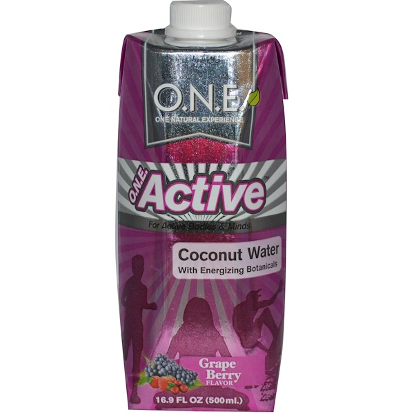 O.N.E, Active, Coconut Water with Energizing Botanicals, Grape Berry Flavor, 16.9 fl oz (500 ml) (Discontinued Item)