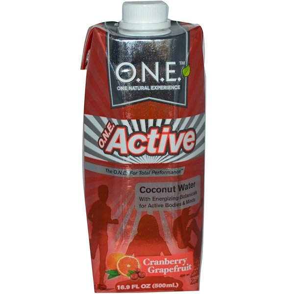 O.N.E, Active, Coconut Water with Energizing Botanicals, Cranberry Grapefruit, 16.9 fl oz (500 ml) (Discontinued Item)