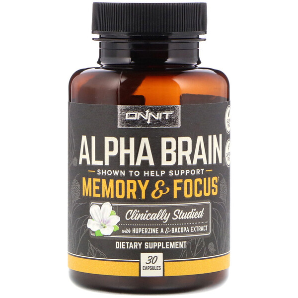 Onnit, Alpha Brain, Memory & Focus, 30 כמוסות