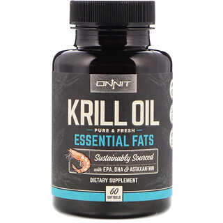 Onnit, Krill Oil, Essential Fats, 60 Softgels