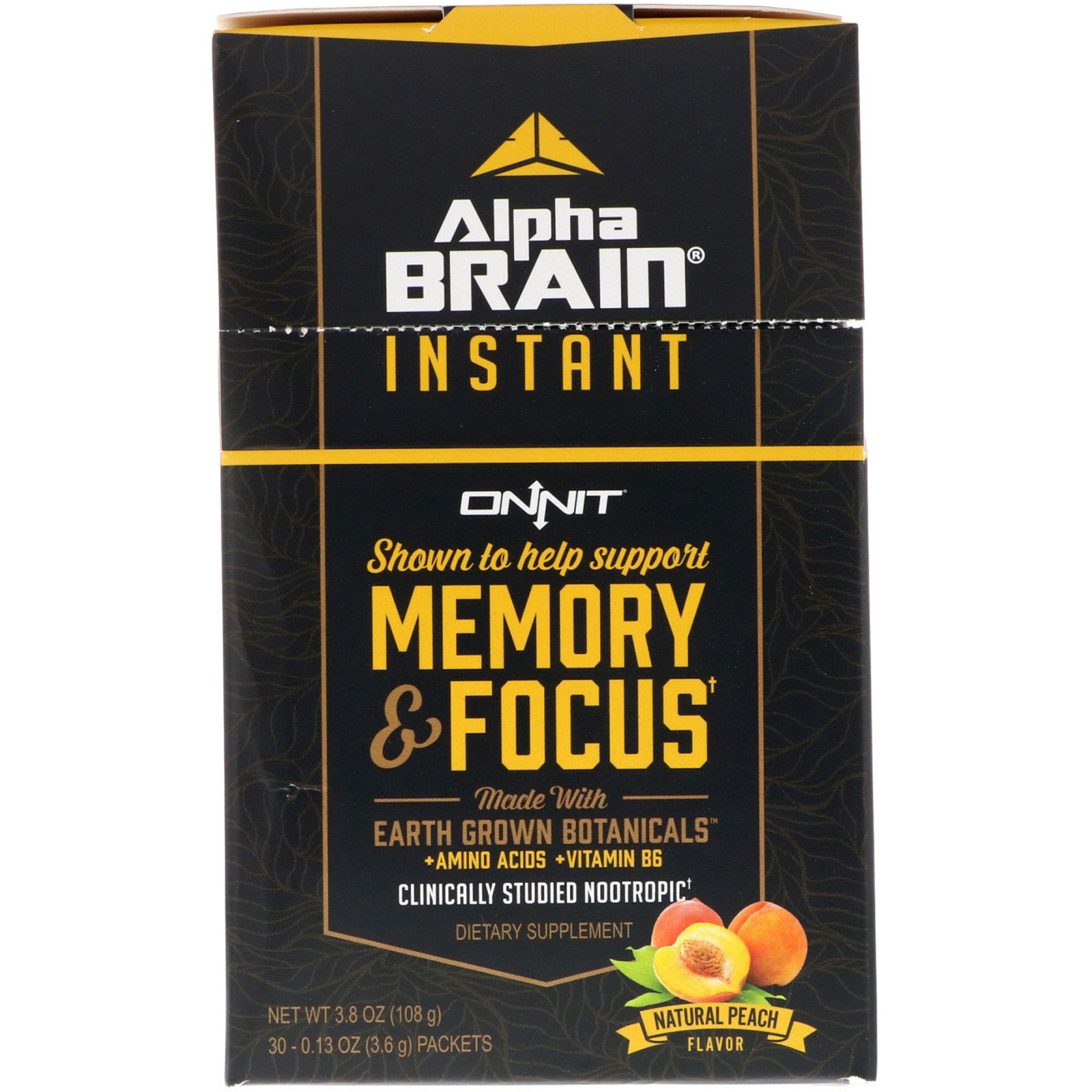Onnit Alpha Brain Instant Memory Focus Natural Peach 30
