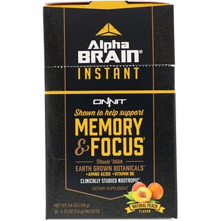 Onnit, Alpha Brain Instant, Memory & Focus, Natural Peach, 30 Packets, 0.13 oz (3.6 g) Each