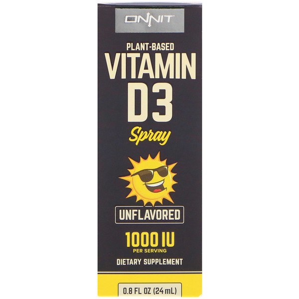 Onnit, Vitamin D3 Spray, Unflavored, 1000 IU, 0.8 fl oz (24 ml)