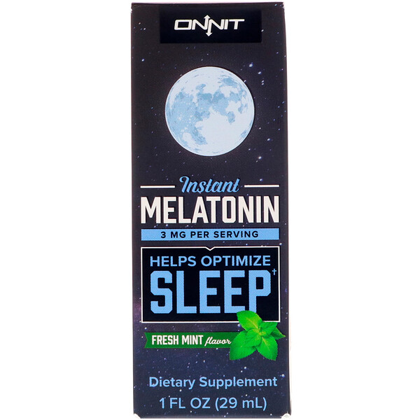 Onnit, Instant Melatonin, Fresh Mint Flavor, 3 mg, 1 fl oz (29 ml)