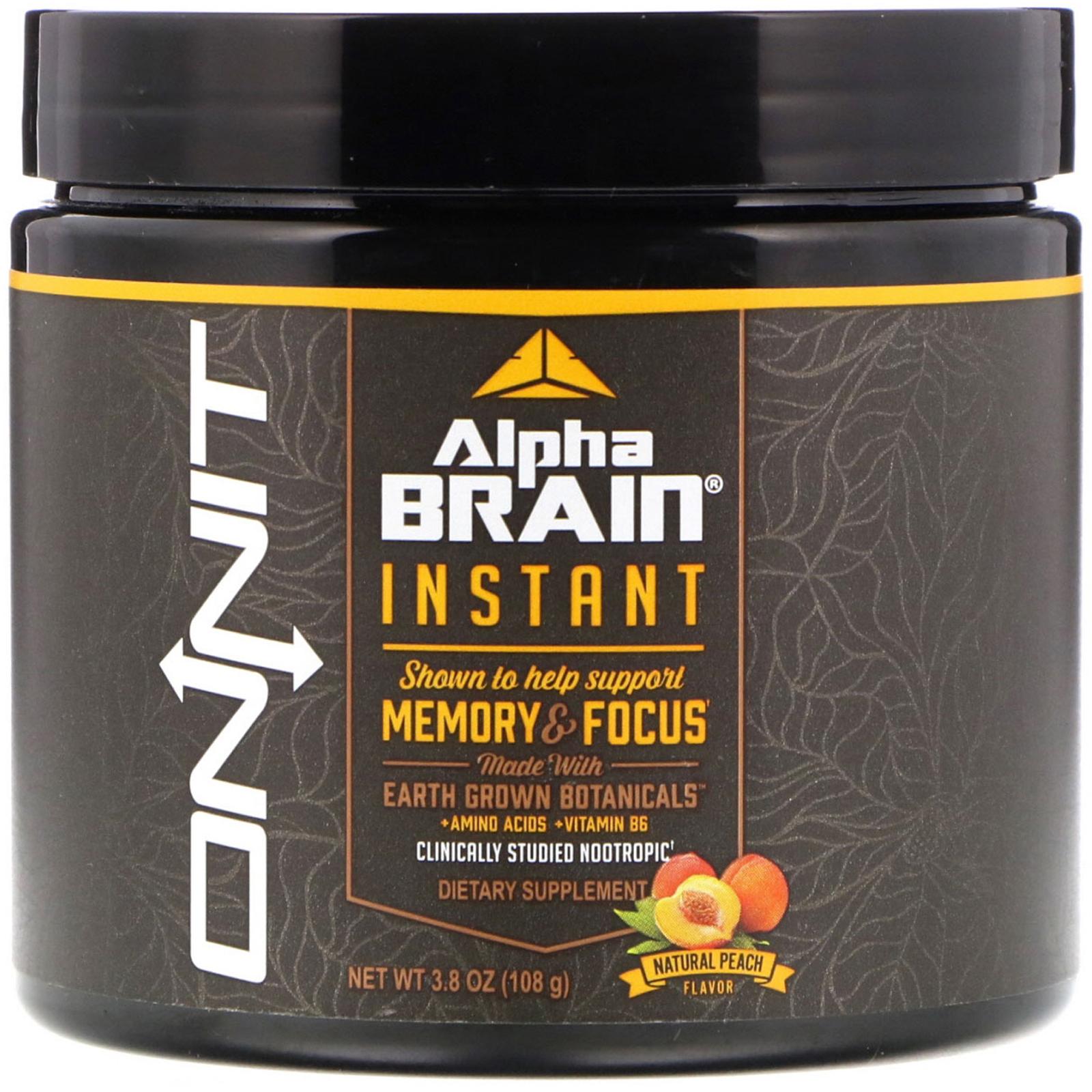 Onnit Alpha Brain Instant Memory Focus Natural Peach Flavor