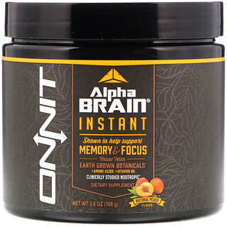 Onnit, Alpha Brain Instant, Memory & Focus, Natural Peach Flavor, 3.8 oz (108 g)