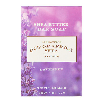 Shea Butter Bar Soap, Lavender, 4 oz (120 g) lush gardenia french milled soap with organic shea butter 6 oz 170 g
