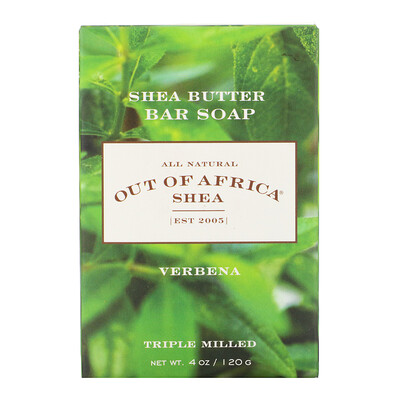 Shea Butter Bar Soap, Verbena, 4 oz (120 g) lush gardenia french milled soap with organic shea butter 6 oz 170 g