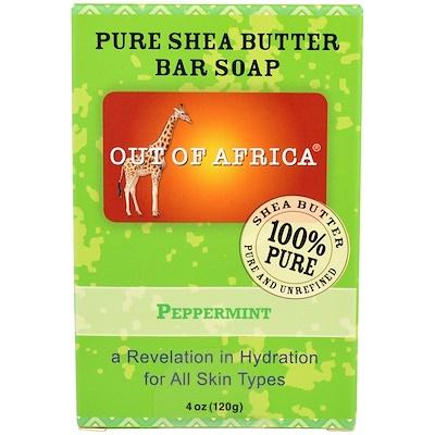 Кусковое мыло из чистого масла дерева ши, с мятой, 4 унции (120 г) недорого