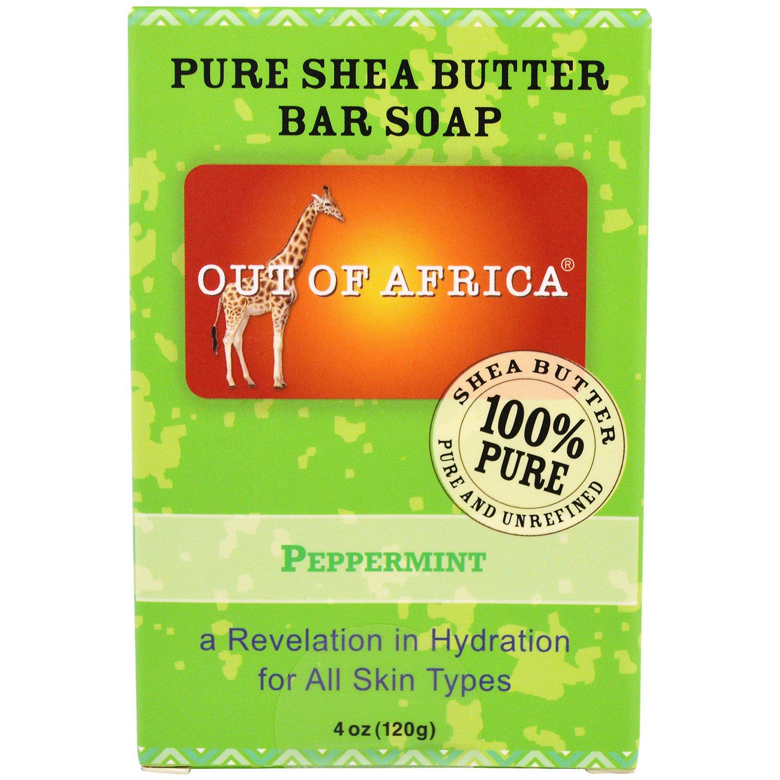 Out of Africa, Кусковое мыло из чистого масла дерева ши, с мятой, 4 унции (120 г)