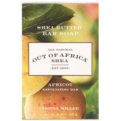 Shea Butter Bar Soap, Apricot Exfoliating Bar, 4 oz (120 g) lush gardenia french milled soap with organic shea butter 6 oz 170 g